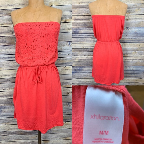 xhiliration strapless coral pink dress size med